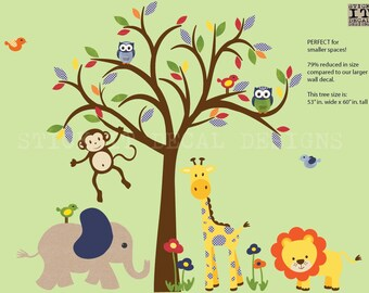 Safari Animal Wall Decal, Boy Nursery Wall Decal, Jungle Animal wall decal, Wall Sticker, Nursery Wall Decal, Smaller Gingham Design