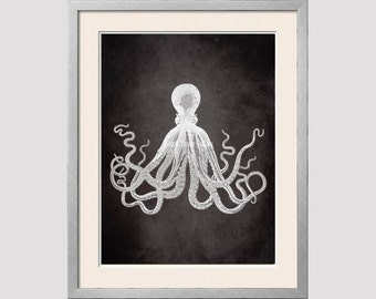 Black White Octopus, Charcoal Black, Jet, Gray, Octopus Print, Vintage Octopus Wall Art, Octopus Art Print, Nautical Decor, Octopus Wall art