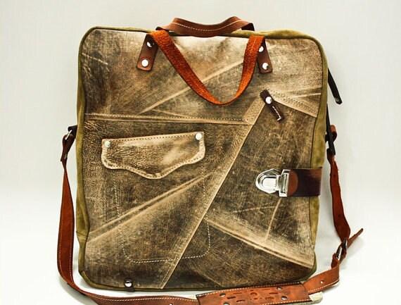 Raw Luxurious Leather Bag, BusinessTravel Brushed Full Grain Leather Bag, Overnight Handmade Bag, Laptop bag, Man or woman