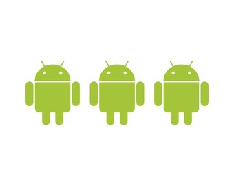 Android Robot Set of Three 2.5 Inch Tall Vinyl Sticker/Decals