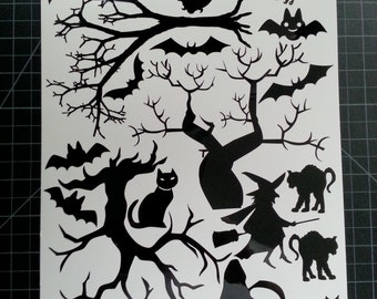 Halloween Window Cling set of Cats, Bats and Trees 8.5x12 Sheet