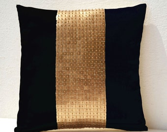 Throw Pillow covers, Black gold color block in silk and sequin bead detail cushion,  sequin bead pillow,  16X16 black pillow,  gift pillow