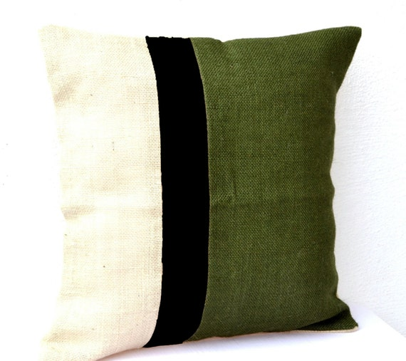Throw Pillow Cover Burlap Color Block Cushion Moss Green