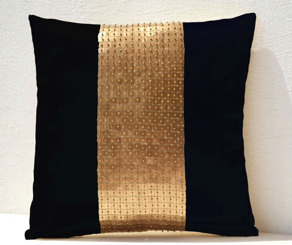 Throw Pillow covers Black gold color block in silk and sequin