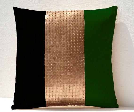Throw Pillows Emerald green black gold Green color block