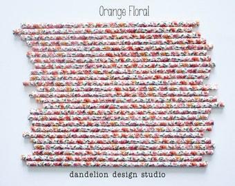 Buy 2, Get 1 FREE!!!     ORANGE FLORAL Paper Straws - Pack of 25 - Dandelion Design Studio