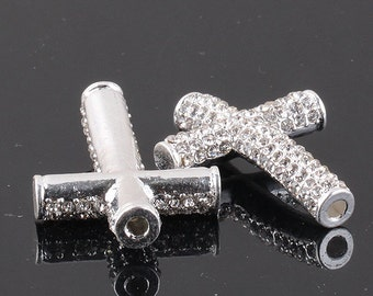 Sideways 10pcs Rhinestone Crystal Curved Cross Connector Tube Beads Charm Fit Bracelet