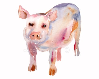 Pig - Size 8x10 in - Animal  Painting - Watercolor  Painting - Nursery Art Print