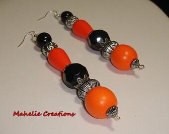 Very long dangle earrings, black and orange earrings, big bold earrings, chunky earrings, large statement earrings, elegant earrings