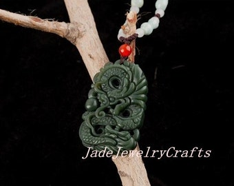 Natural green   Hand- carved dragon  jade charm Pendant / necklace