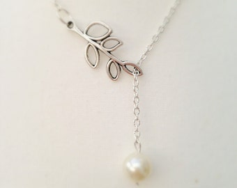 Lariat Necklace,Branch Necklace, Branch Pearl Necklace, Silver Necklace