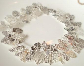 Leaf Bracelet, Silver Leaf Bracelet, Leaf Charm Bracelet,, Leaf Anklet, Ankle Chain, UK Shop, Gifts for Girls, Mom Jewelry, Christmas Gifts
