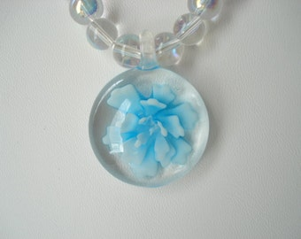 Vintage Glass Cabochon Necklace Encased Blue Blue Flower AB Glass Beads