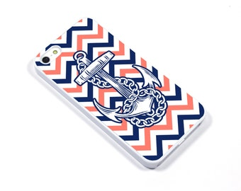iPhone 5/5s iPhone 5c iPhone 6/6plus Samsung Galaxy S3 S4 S5 iPod touch 4th/5th Gen -  anchor nautical blue coral - p26