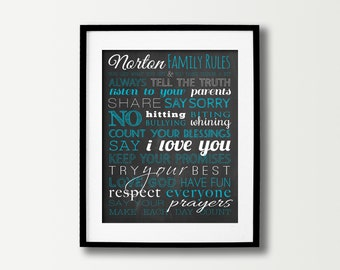 House Rules Sign - Family Rules Sign - Family Signs - Home Decor - House Rules Decor - Black & White Art - Subway Art - Family Room Wall Art