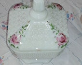 Milk glass candy dish with hand painted roses