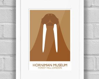 Horniman Museum Walrus (Landmark), London - Giclée Art Print / Poster