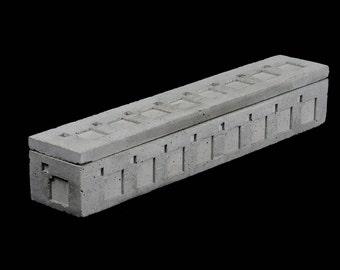Cement incense burner / ash catcher, w/ Lid. Textile Block #3.