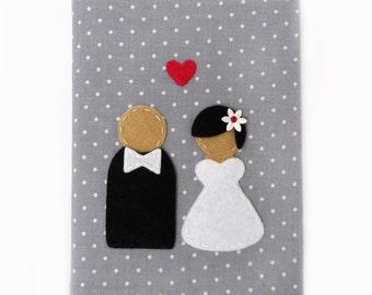 Wedding Photo Album: Holds 4x6 Photos, Grey with White Polka Dot Fabric, Bride & Groom Applique