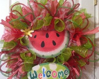 Summer wreath/ Watermelon wreath/Summer mesh wreath