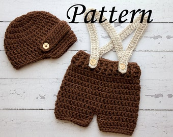 Crochet PATTERN - Newborn Visor hat and suspenders short set Photo Prop Set -Instant Download PDF - Photography Prop Pattern