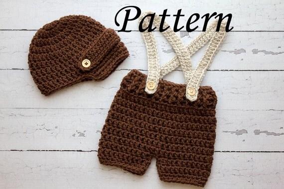 Crochet PATTERN Newborn Visor hat and suspenders short set
