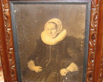 "ANTIQUE PHOTOGRAPH FRAMED Georgian Woman With Ruff Collar 26"" X 22"""