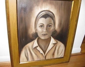 "ANTIQUE OIL PAINTING-Framed, Signed 1969 Frame Measures 21"" x 25"" Sepia Color Painting Portrait Painting"
