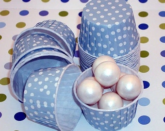 Powder Blue Polka Dot Nut Cup-Powder Blue Candy/Nut Cups are perfect for filling with candy, nuts or other snacks.