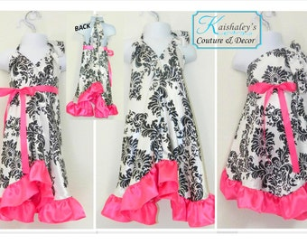 Satin Girls Dress with ruffles white and black damask print. Summer dress, birthday outfit