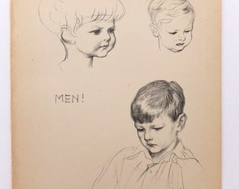 Men, Vintage Picture of Boys, Nursery art, JH Dowd Black and white drawing