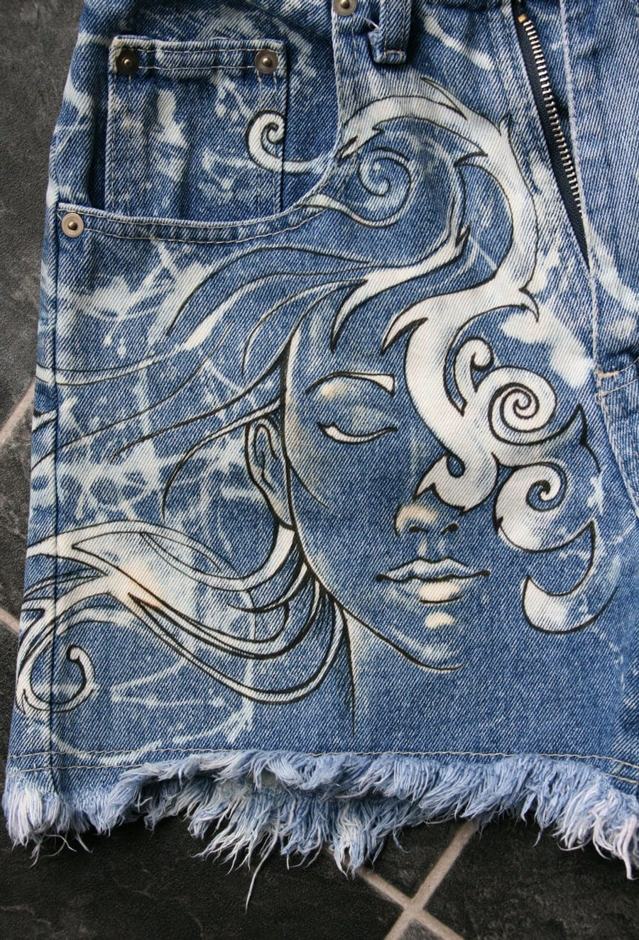 Hand painted bleached high waisted denim shorts - How to get exterior paint out of clothes ...