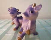 Vintage Purple Cow Salt and Pepper Shakers Lavender Vintage Animal Farm Gold Bell Happy Cute