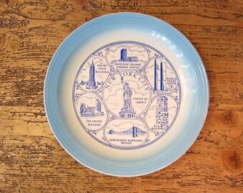 Collectible New York City souvenir transferware plate.