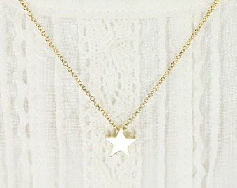 Tiny Gold Star Charm Necklace Simple and Modern Necklace Bridesmaid Gift Bridesmaid Necklace Dainty Necklace