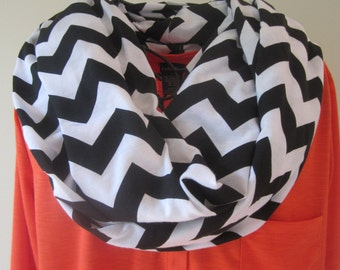 Black & white Chevron Infinity Scarf - Halloween - Webster Groves