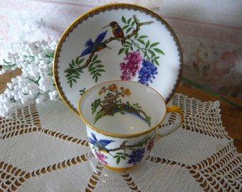 Vintage Aynsley Cup and Saucer Hand Painted  Wisteria and Birds Circa 1934-38