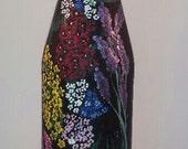 Hand Painted floral vase Center Piece Wine Bottle