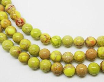 """15.5""""  10mm   Yellow   Imperial Jasper  Round Beads"""