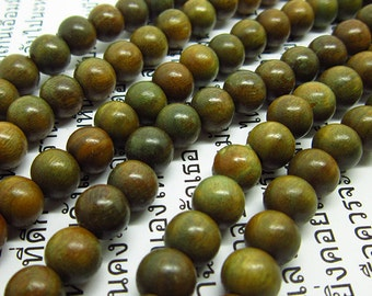 108pc 10mm  Green sandalwood  Verawood  Mala  Bead