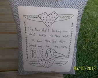 Two Become One Handmade and Handstitched Primitive Rustic Pillow