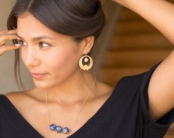 Gypsy Art Deco Gold Filled Bar Necklace Royal Blue