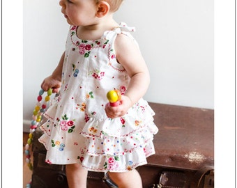 Baby sewing pattern Sunny Dress and Bloomers pdf sewing pattern, baby girl's dress pattern sizes 6mths to 6 yrs by Felicity Sewing Patterns