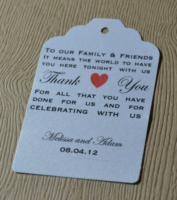 Thank You Gifts For Weddings: Custom Wedding Favor Tags Thank You Customized