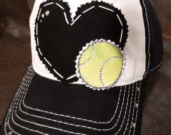 Tennis LOVE Crystal Distressed Baseball Cap