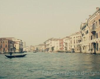 "Venice Photography ""On the Grand II"" , Vintage, Italy Travel Photograph, Fine Art, Gondola, Gondolier, Wall Decor, Grand Canal"