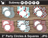 """Printable Aqua Blue & Red 2"""" Party Circles and Squares / Cupcake Toppers / Blank Labels, Tags. Add Your Own Text DIY Jpg. INSTANT DOWNLOAD"""