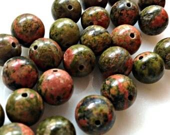 Unakite Smooth Round Beads 10mm 26 pieces