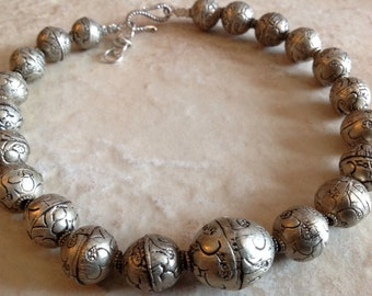Tibetan Handmade Silver Beads Necklace