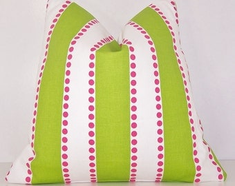 "PILLOW COVER Throw Case Fits 14"" 16"" 18"" 20"" 24 Euro Sham or Lumbar Pillow Premier Prints Fabric Candy Pink White Chartreuse Lulu Stripes"